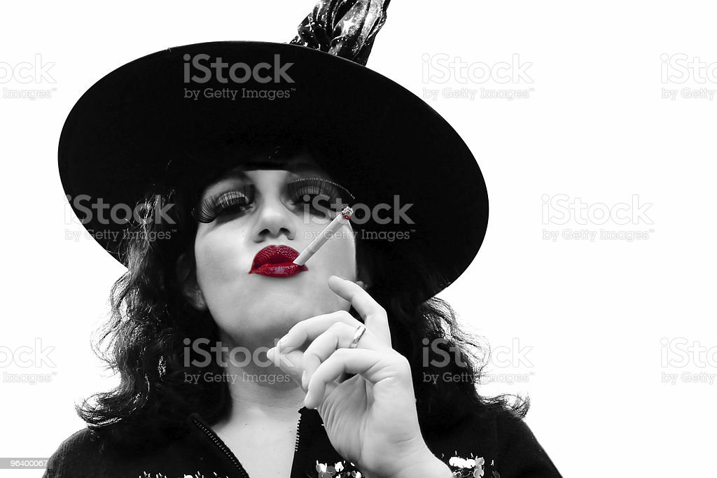 B&W portrait with red lips - Royalty-free Adult Stock Photo