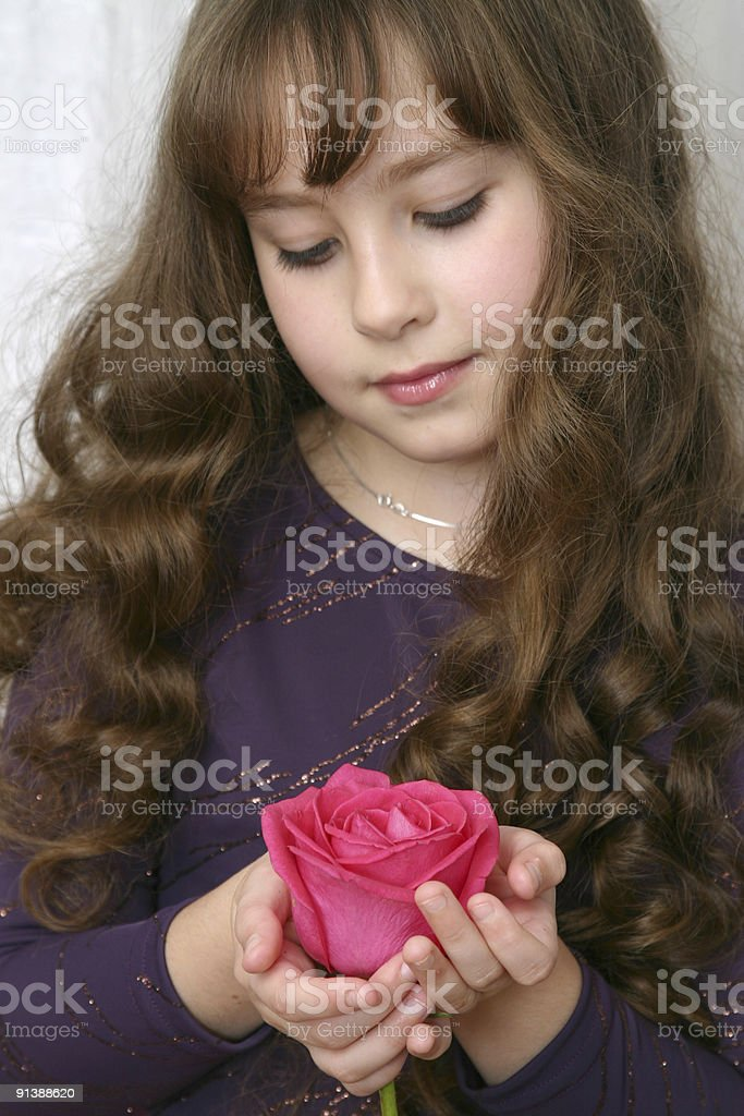 Portrait with red rose. royalty-free stock photo