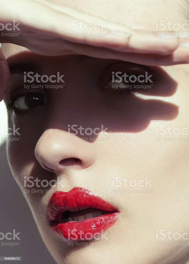 Portrait with shadows stock photo