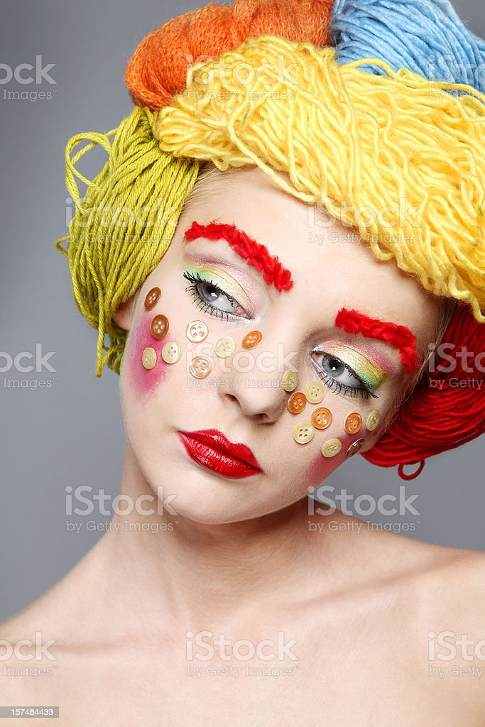 portrait with threads and buttons royalty-free stock photo