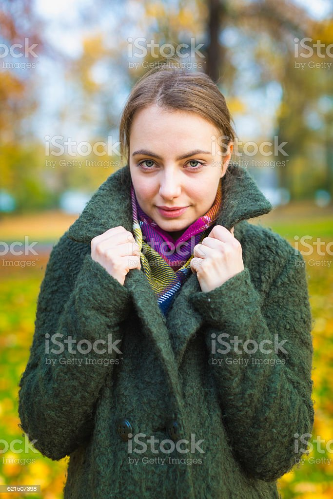 Portrait woman with coat foto stock royalty-free