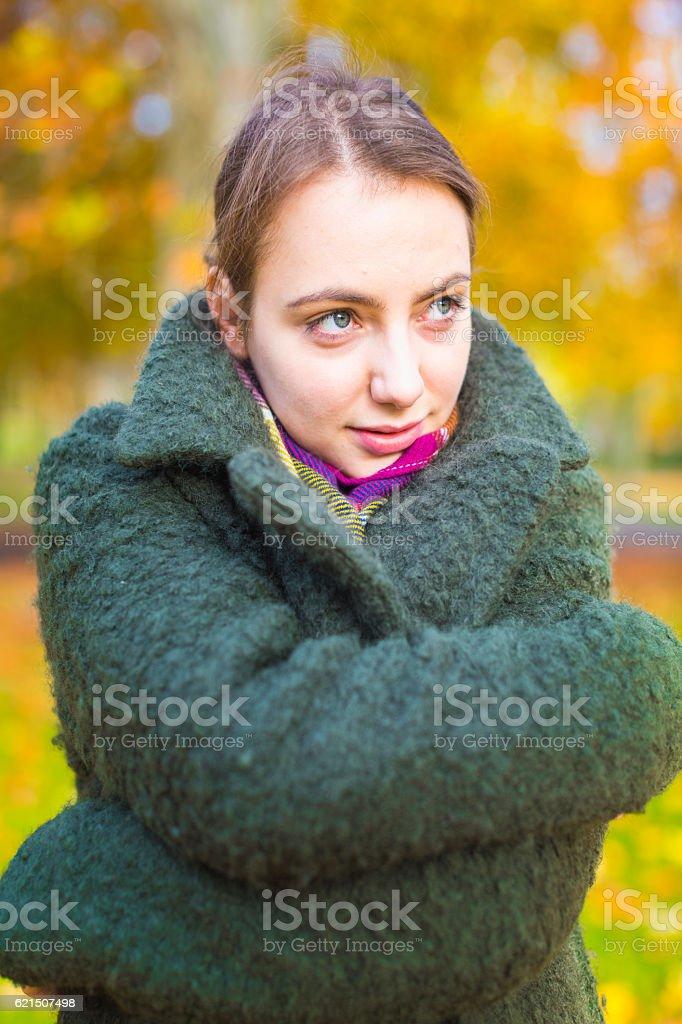 Portrait woman with coat photo libre de droits