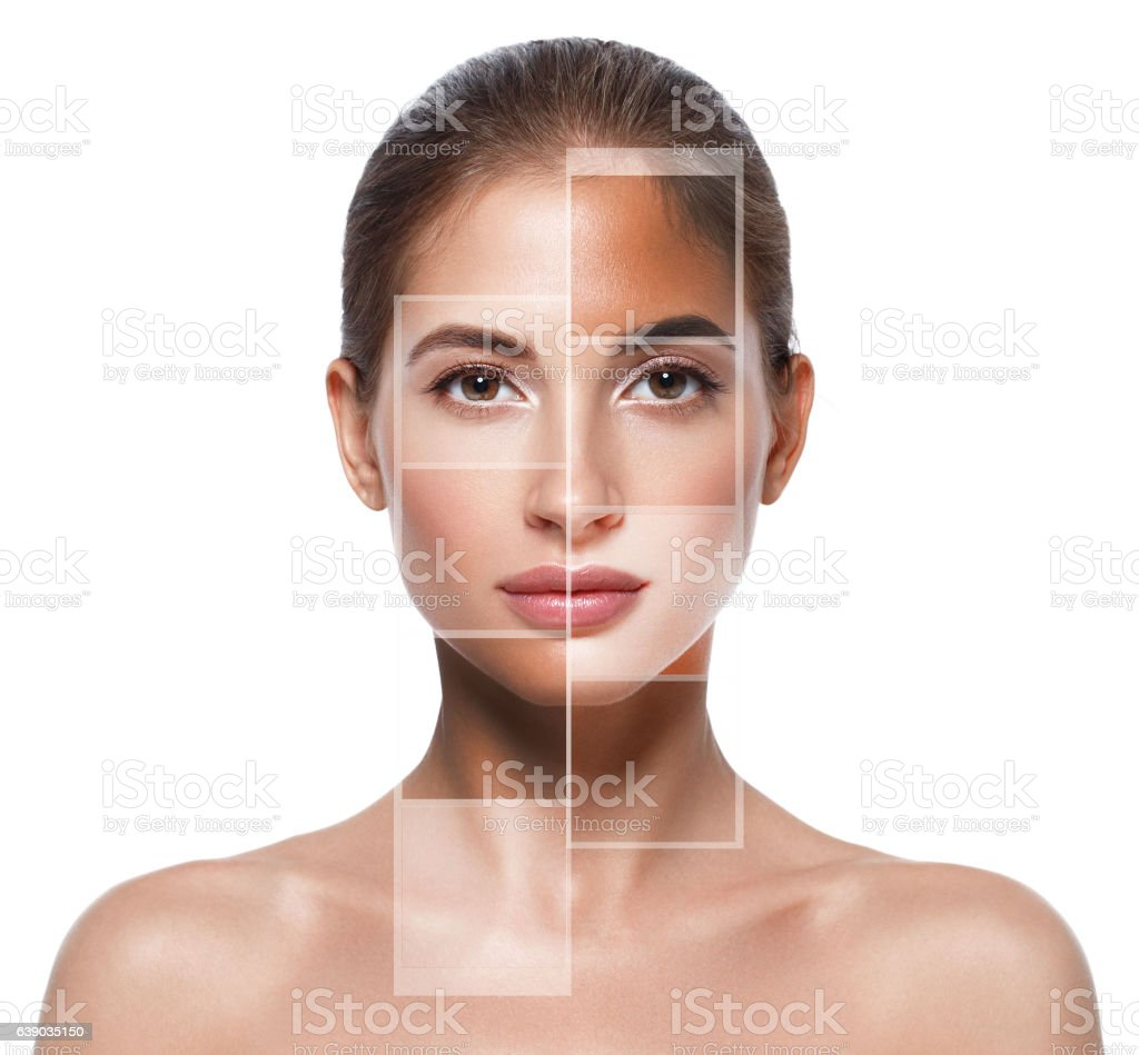 Portrait woman with different  skin tone colors. Studio shot. stock photo