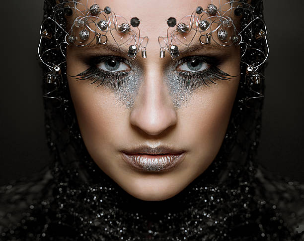 Portrait woman with long lashes and fashion make-up stock photo