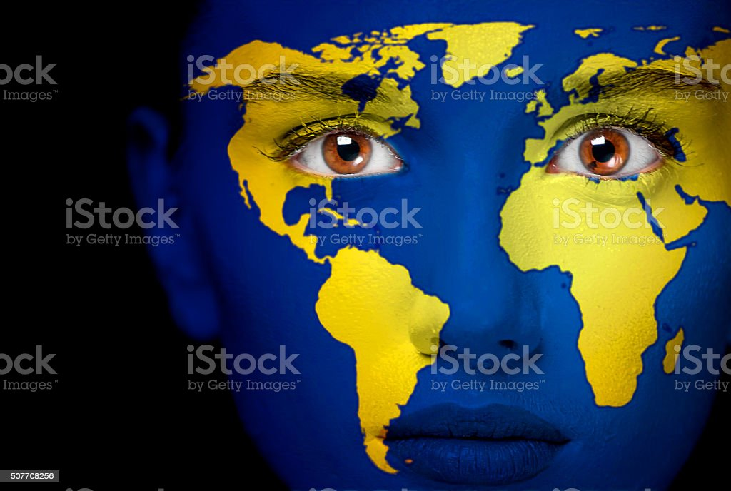 Portrait woman with map of the world stock photo