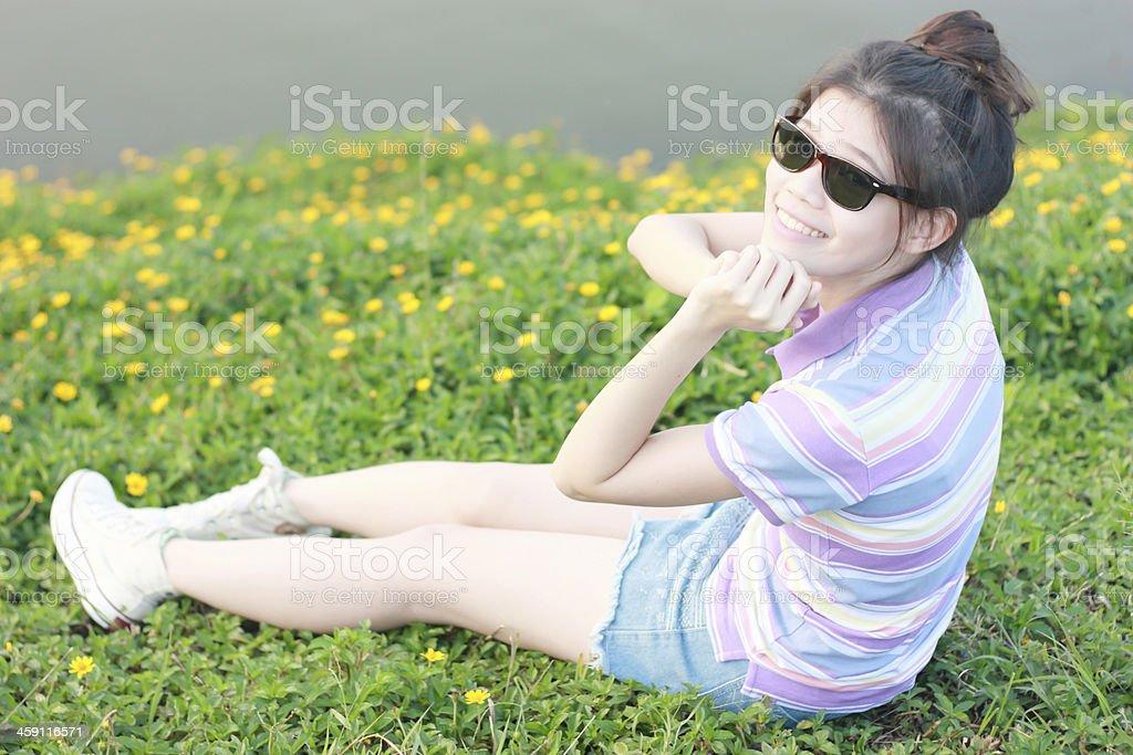 Portrait women natural environment stock photo