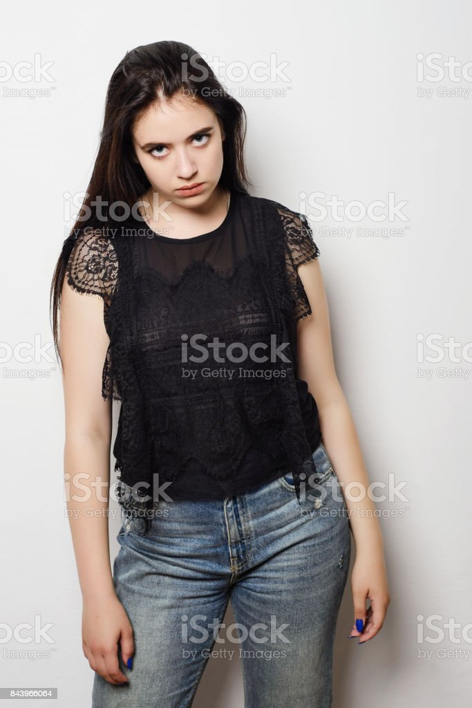 Portrait young angry woman with bad attitude Negative human emotion...