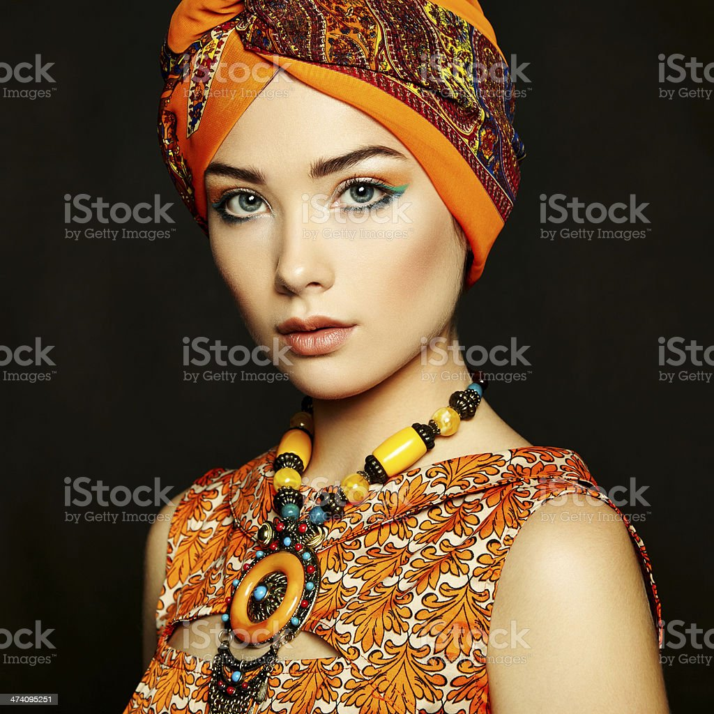 Portrait young beautiful woman with necklace royalty-free stock photo