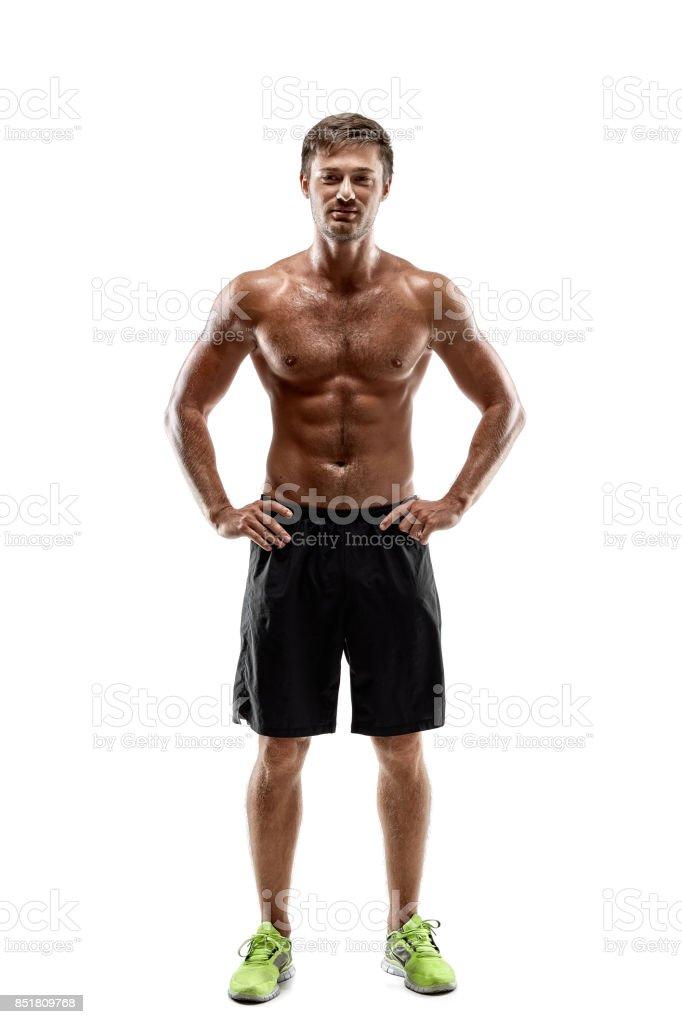 Porträt Sexy Schönen Jungen Mann Starken Athletenkörper Mit Nacktem ...