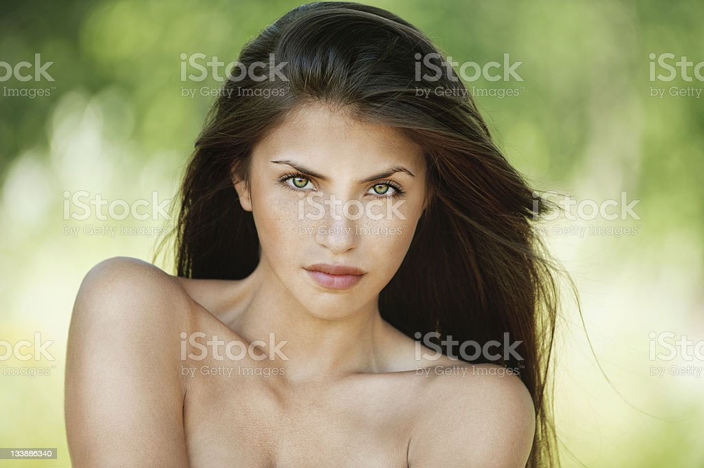 portrait young woman stripped royalty-free stock photo