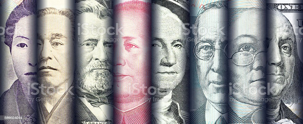 Portraits / images / faces of famous leader on banknotes, stock photo