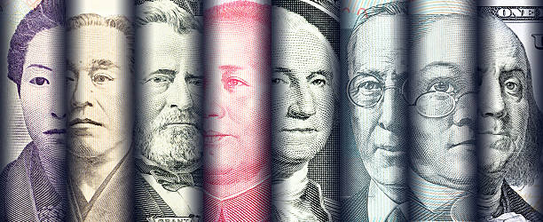 Portraits / images / faces of famous leader on banknotes, - foto stock
