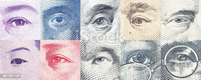 istock Portraits / images / the eyes of famous leader on banknotes. 837081756