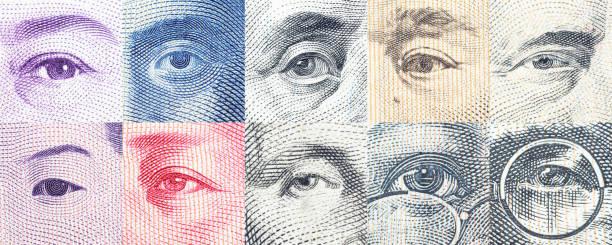 porträts / images / die augen der berühmte führer auf den banknoten. - eurozahlen stock-fotos und bilder