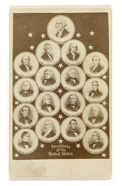 Portraits of American Presidents Composition of portraits of 17 American presidents, from George Washington to Andrew Johnson ( 1789-1869 ) .Composition of 17 portraits of American presidents in circles and stars with caption by an anonymous artist, published between 1865 -1869. It is now in the public domain. us president stock pictures, royalty-free photos & images