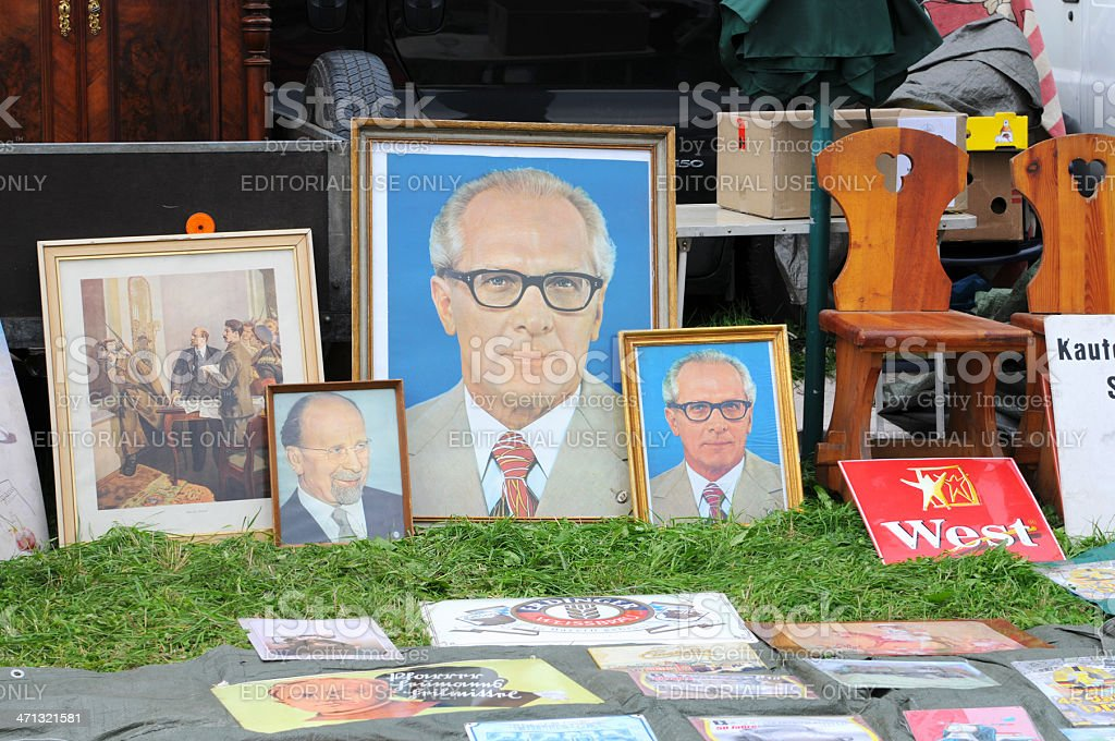 portraits of ex Socialism politicians Lenen Ulbricht and Honecker stock photo