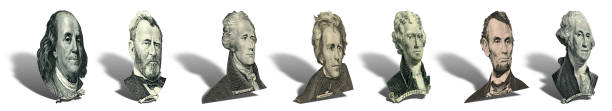 porträts der präsidenten und politiker von-dollar - lincoln united stock-fotos und bilder
