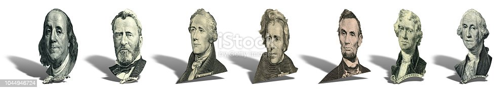 Portraits of America presidents and politicians from dollars isolated on white background. Photo at an angle of 15 degrees, with a shadow.
