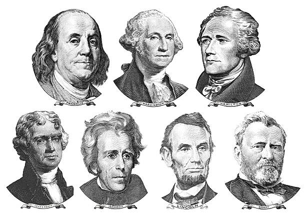 Portraits of presidents and politicians from dollars stock photo