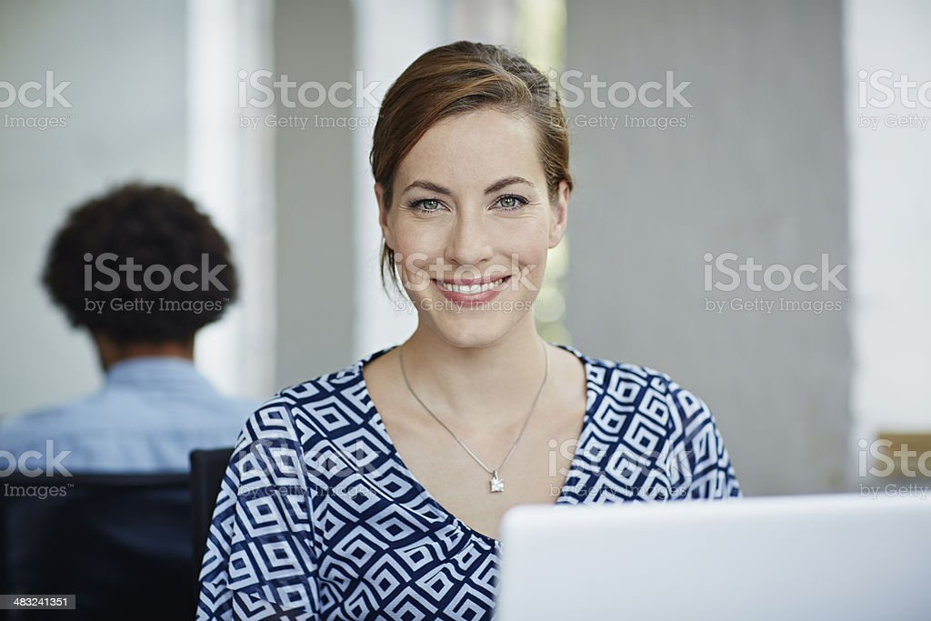 Portraits of smiling business woman Portrait of smiling business woman in working space 30-34 Years Stock Photo
