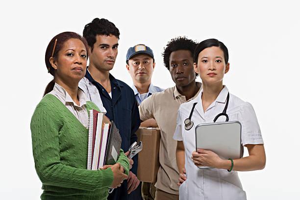 Portraits d'enseignant Mécanicien facteur de livraison homme et infirmière - Photo