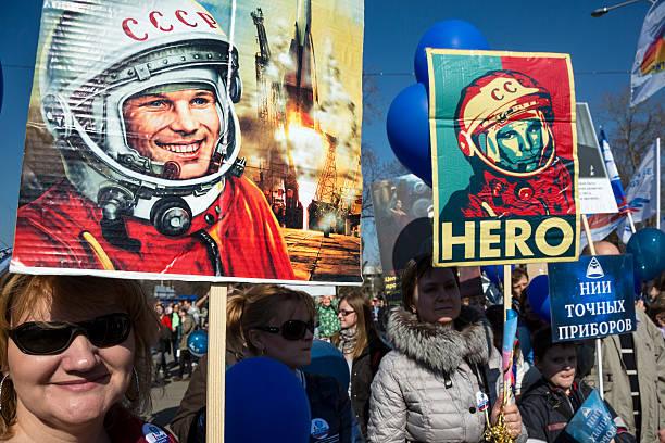 portraits of the firt cosmonaut Yuri Gagarin stock photo