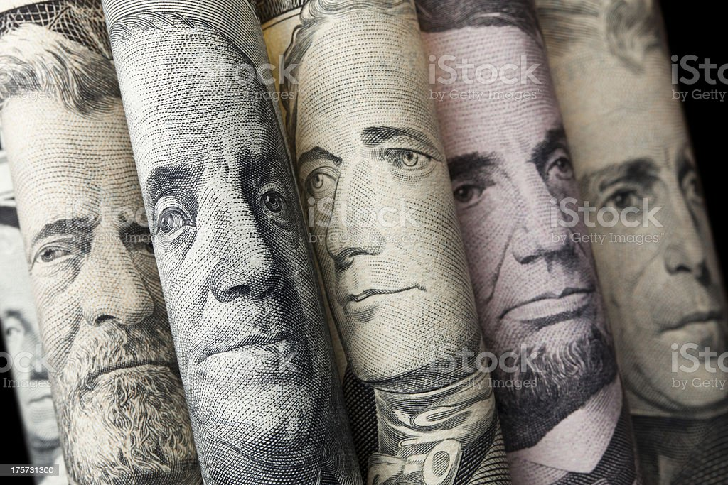 Portraits of U.S. presidents on dollar bills stock photo