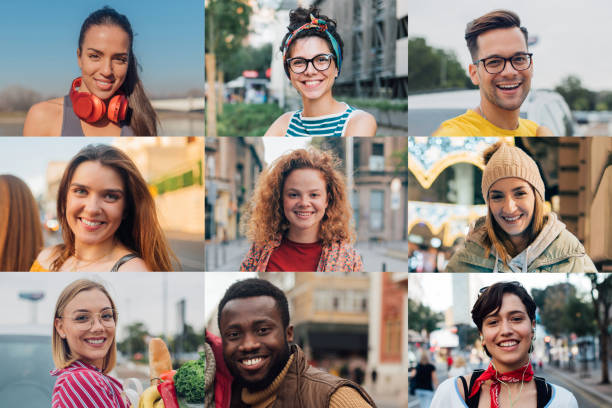 Portraits of young beautiful people stock photo