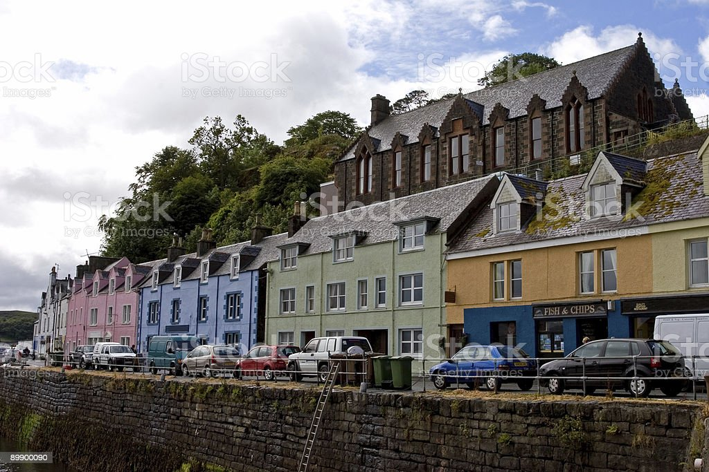 Portree coloured houses royalty-free stock photo