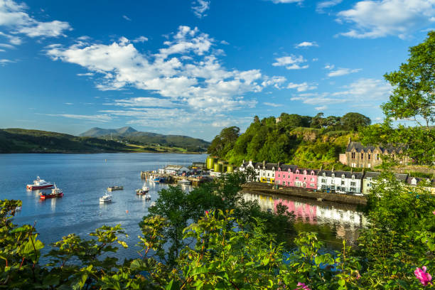 Portree skyline with colorful houses Isle of Skye iconic skyline of portree isle of skye stock pictures, royalty-free photos & images