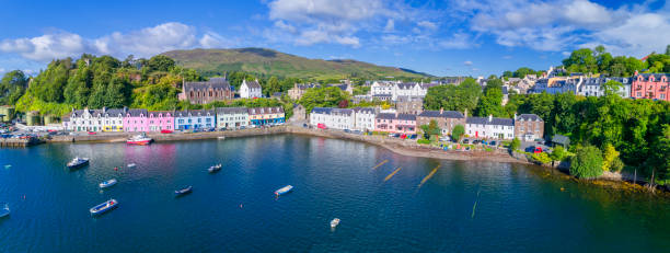 Portree town aerial, Scotland Portree town aerial, Scotland isle of skye stock pictures, royalty-free photos & images