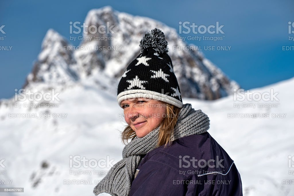 Portret of Women dressed for winter walk stock photo