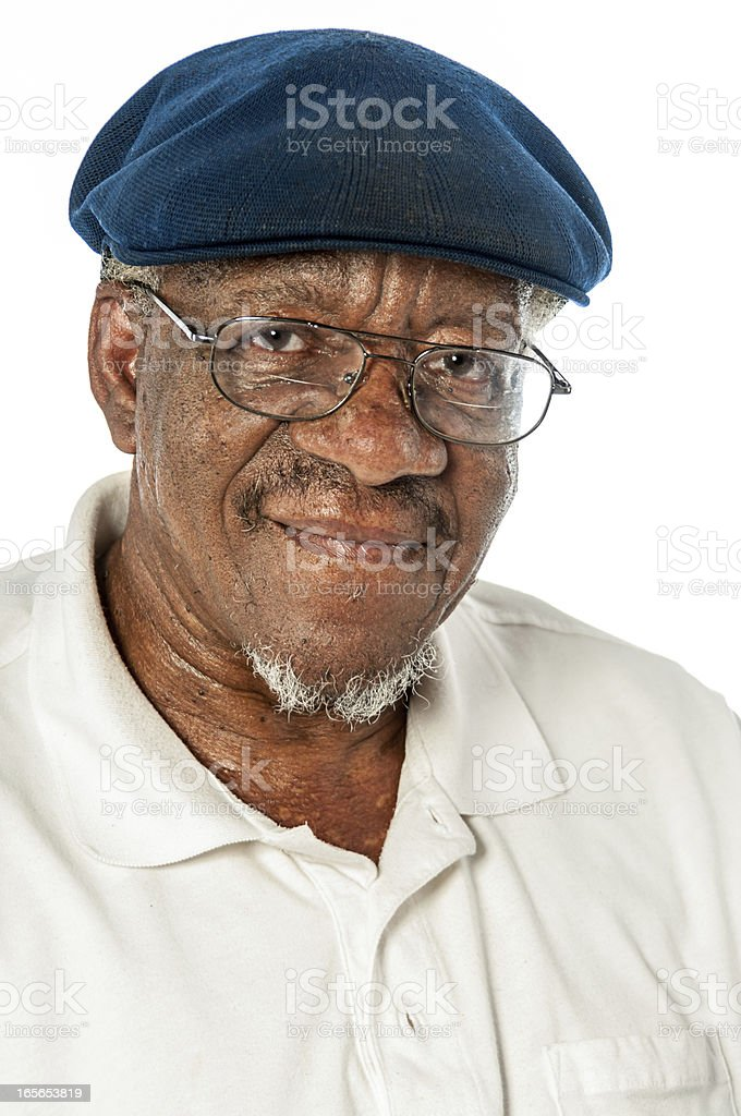 Portriat African American Senior Man Wearing Glasses and a Hat stock photo