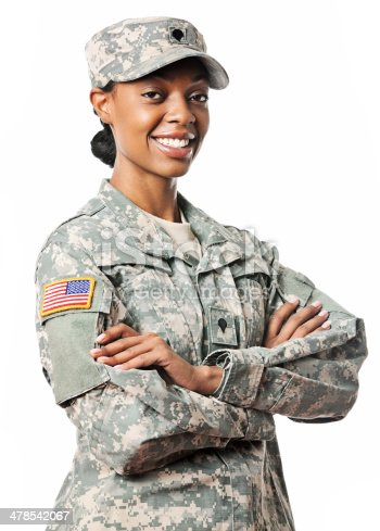 istock Portriat of a female soildier 478542067