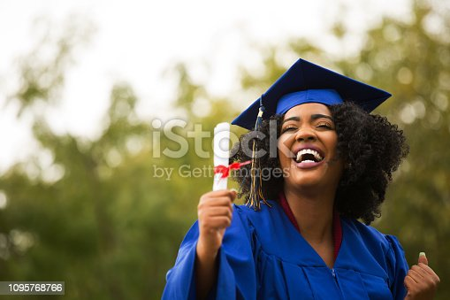 istock Portriat of a young African American Woman at graduation. 1095768766