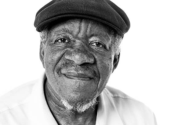 Portriat of Senior African American Man in Black and White Senior African American Man monochrome stock pictures, royalty-free photos & images