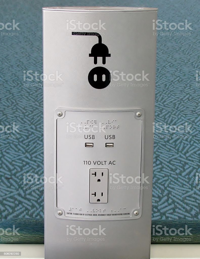USB ports and  electric plug socket stock photo