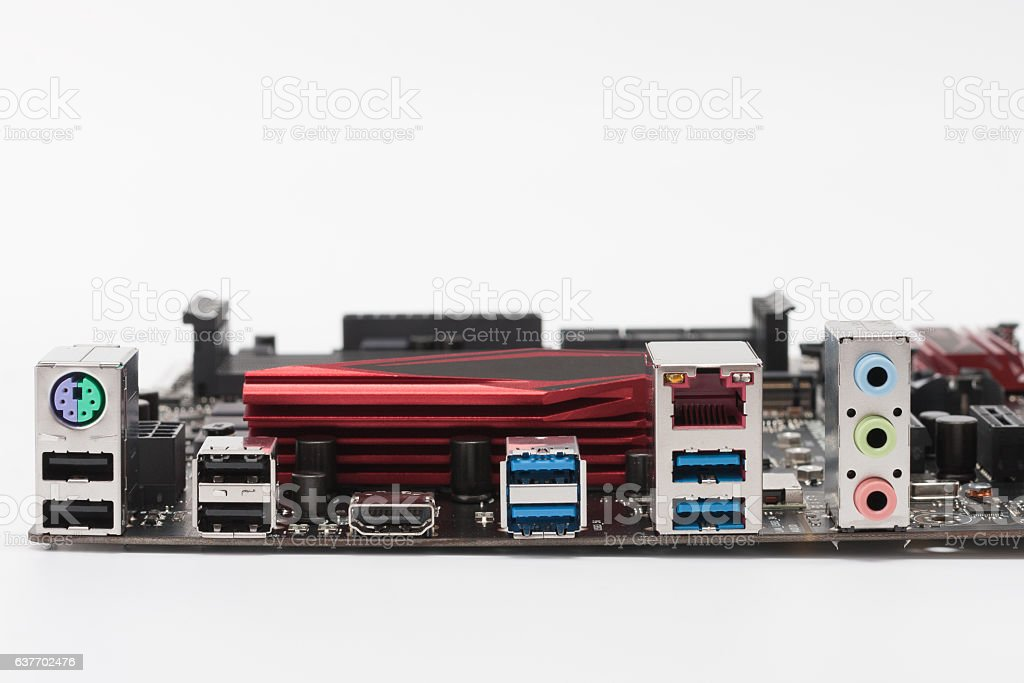 Ports of  new motherboard isolated on white background stock photo