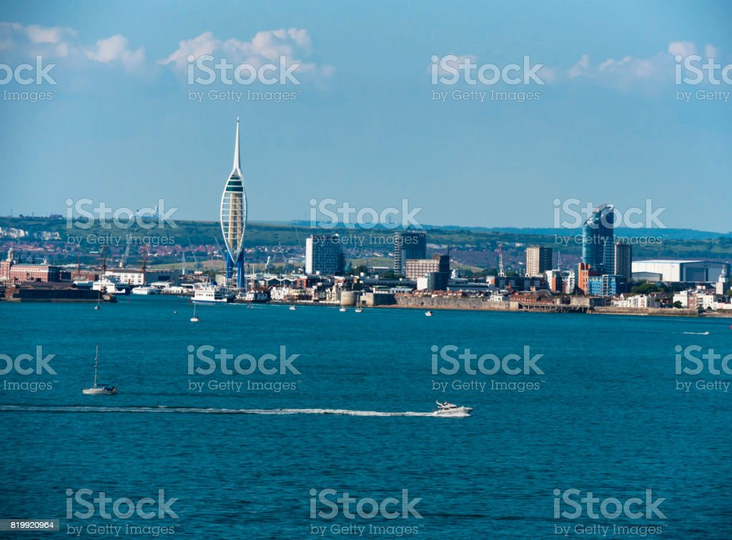 Portsmouth and the South Downs from The Solent stock photo