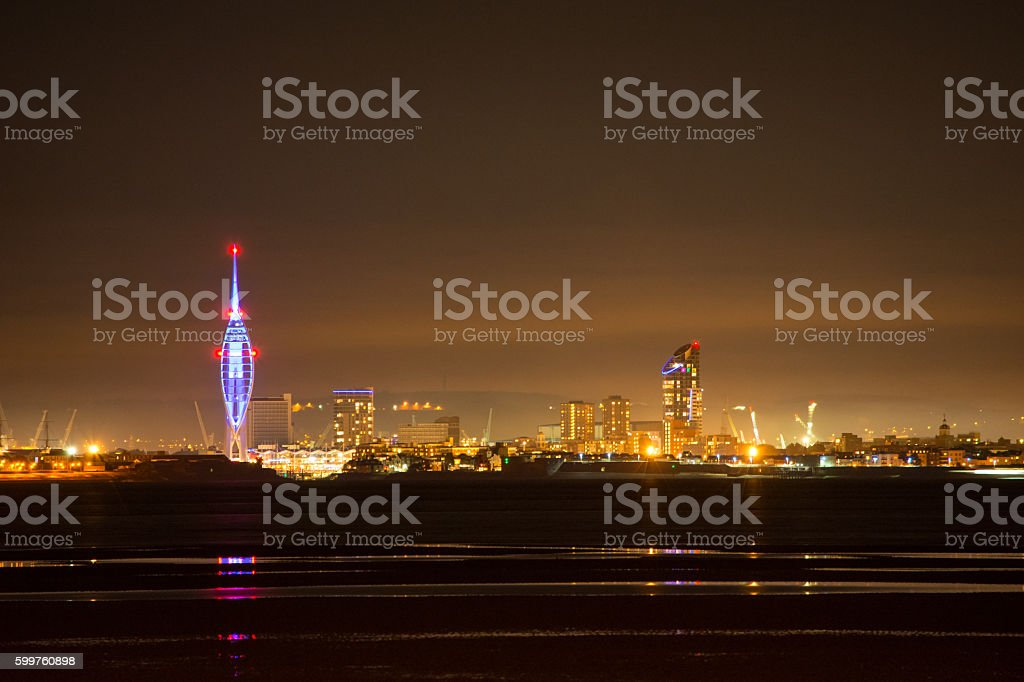Portsmouth City Skyline and Reflections stock photo