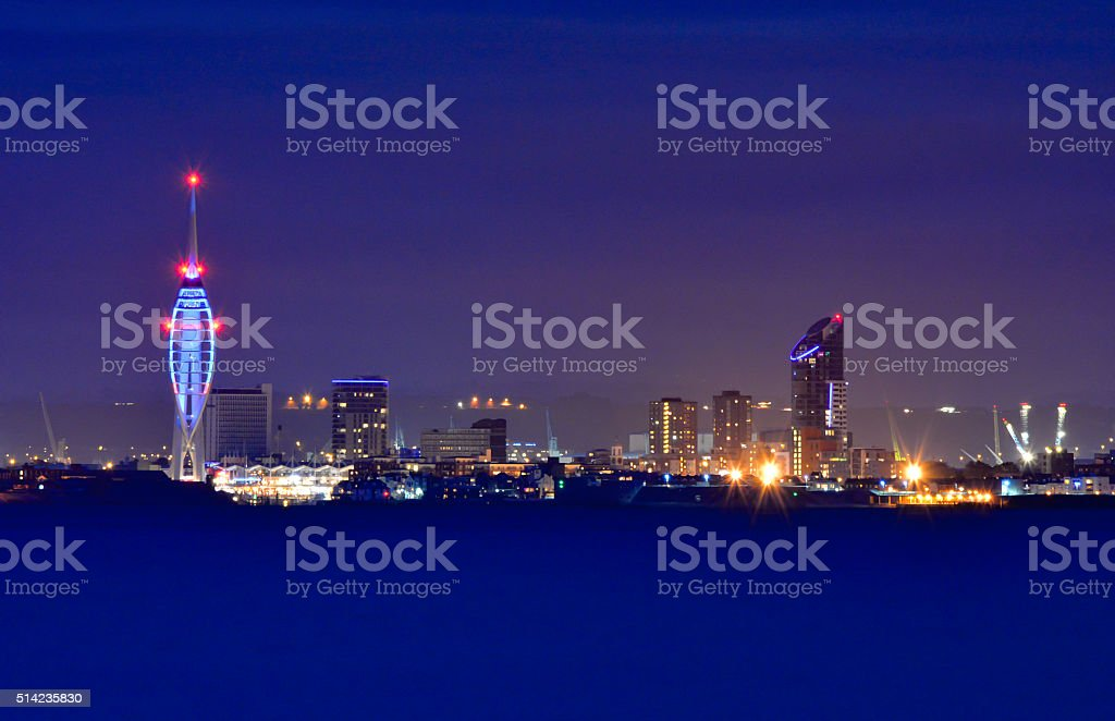 Portsmouth City Skyline at Night stock photo
