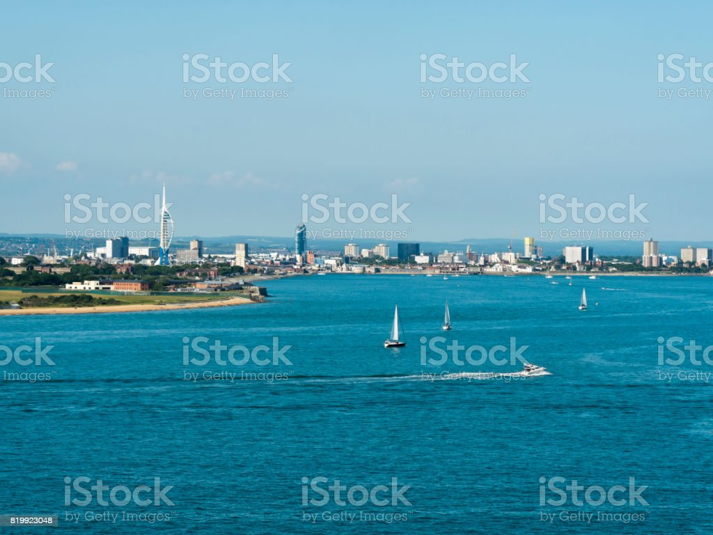 Portsmouth, England, seen from The Solent stock photo