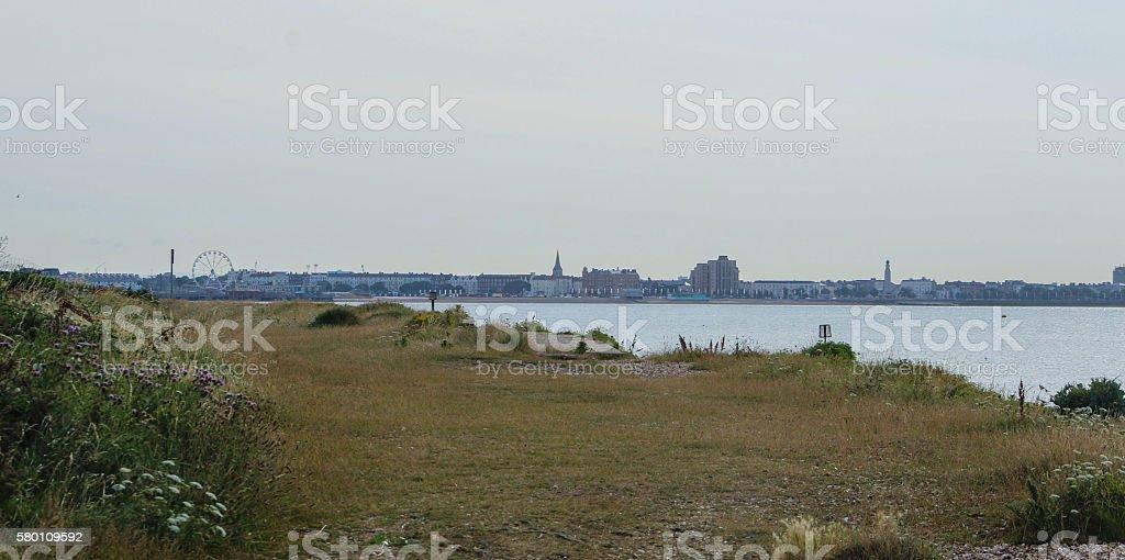 Portsmouth from Stokes Bay Gosport stock photo