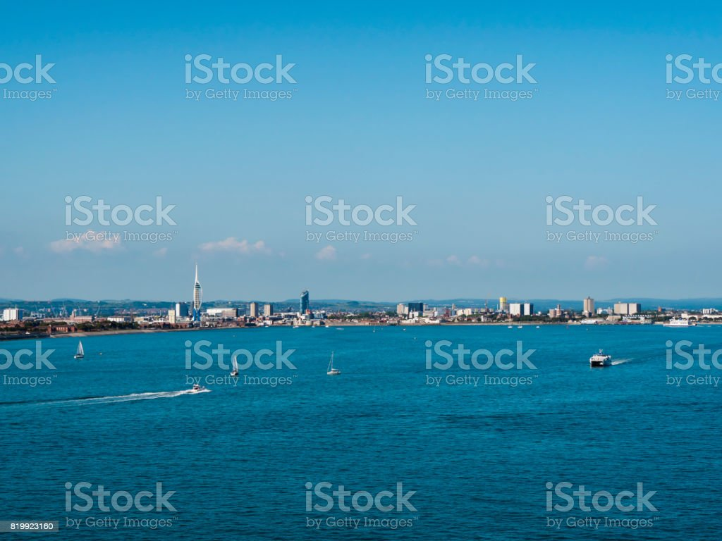 Portsmouth, Gosport and South Downs skyline from The Solent stock photo