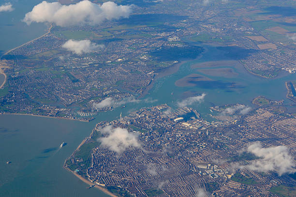 portsmouth, hampshire, england from the air - english channel stock pictures, royalty-free photos & images