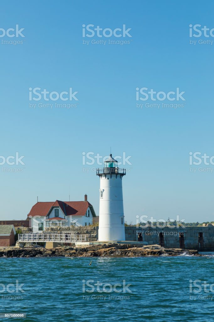 Portsmouth Harbor Lighthouse and Fort Constitution State Historic Site view in summer,  New Hampshire, USA stock photo