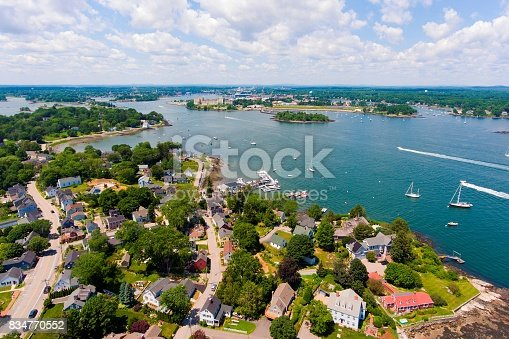 Portsmouth Harbor aerial view in summer, New Castle, New Hampshire, USA.