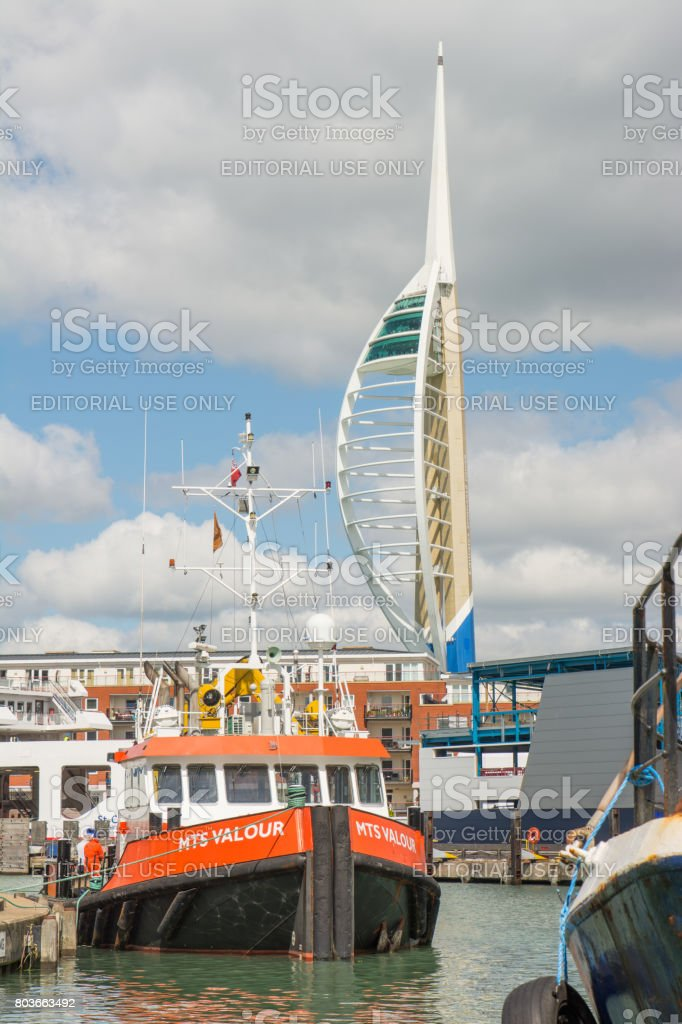 Portsmouth Harbour in England stock photo