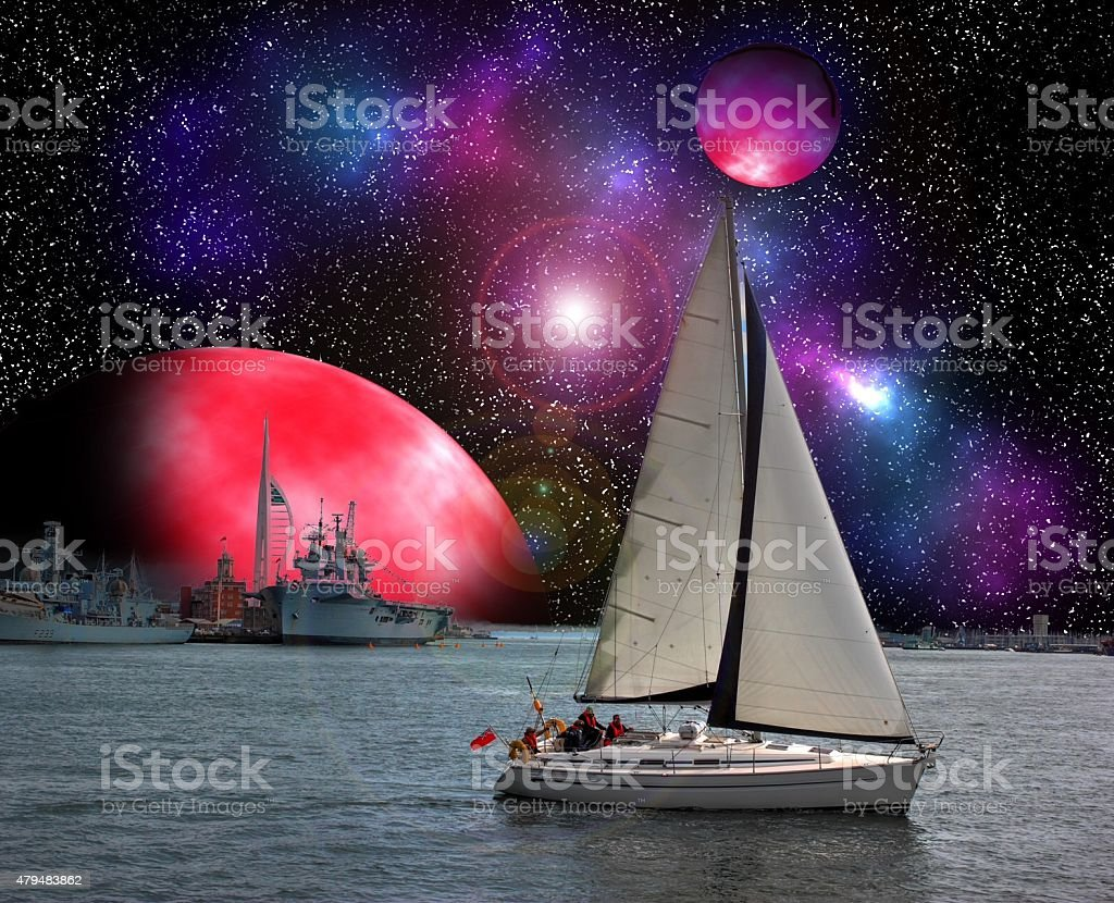 Portsmouth in space. stock photo
