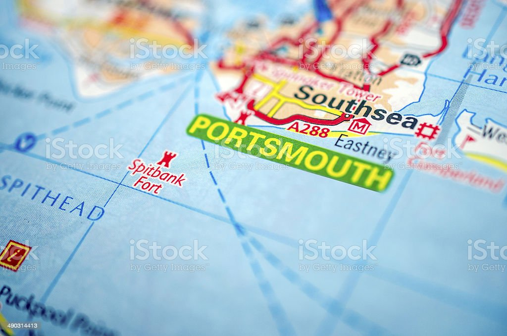 Portsmouth on road map stock photo